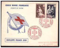 Croix Rouge Enveloppe 1er Jour LE HAVRE 12.12.53. - France