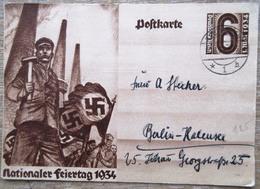 DR Ganzsache 6 Pfg. Nationaler Feiertag 1934 Gelaufen - Deutschland