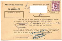 FRAMERIES 1942 Carte Lettre Courrier Convocation Caisse Administration Communale - Cachet Receveur Communal - Frameries