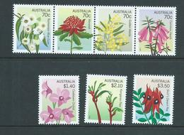 Australia 2014 State Flower Emblems Set Of 7 - Strip 4 & 3 Singles MNH - Nuovi