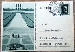 DR Ganzsache 6 Pfg. Hitler Festpostkarte Reichsparteitag Formation SST Nürnberg - Deutschland