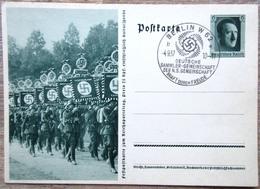 DR Ganzsache 6 Pfg. Hitler Festpostkarte Reichsparteitag Standartenformation SST Berlin - Deutschland