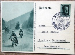 DR Ganzsache 6 Pfg. Hitler Festpostkarte Reichsparteitag Motorradfahrer (Krad) SST Nürnberg - Deutschland