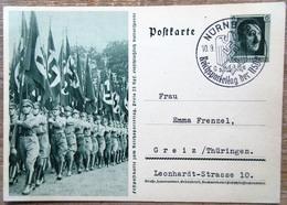 DR Ganzsache 6 Pfg. Hitler Festpostkarte Reichsparteitag Fahnendelegation SST Nürnberg - Deutschland