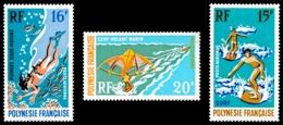 POLYNESIE 1971 - Yv. PA 48 49 Et 50 *   Cote= 33,00 EUR - Sports Nautiques (3 Val.)  ..Réf.POL23600 - Airmail