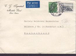 Finland PAR AVION Luftpost Label C. G. TIGERSTEDT Mustila Gård KOSIA STATION 1946? Cover Brief SULZBACH Germany Bus - Finnland