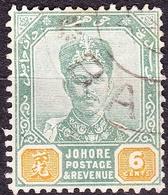 MALAYA JOHORE 1896 6 Cents Green & Yellow SG45 Used - Johore