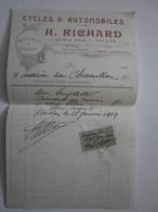 83 Toulon. Cycles & Automobiles H. Richard, Facture Du 22 Juillet 1904 - Agriculture
