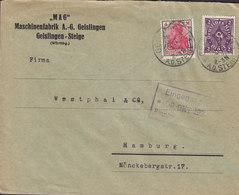 Germany Deutsches Reich 'MAG' Maschinenfabrik, GEISLINGEN -STEIGE 1922 Cover Brief HAMBURG 4 Mark Germania & Posthorn - Deutschland