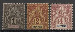 Guyane - 1892 - N°Yv. 30 - 31 - 32 - Groupe 1c / 2c / 4c - Neuf Luxe ** / MNH / Postfrisch - French Guiana (1886-1949)