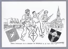 CP N° 37 DE 3000 EX. 50eme ANNIVERSAIRE DE LA LIBERATION DE DEAUVILLE LE 22 AOÛT 1994 DESSIN J. DELAMARE - Deauville