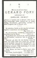 Faire-part Gérard FORY Weduwenaar Van Caroline DEMOT Bloir-Tongeren 18/1/1920 - Décès