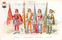 """09086 """"SIENA - I PAGGI DELLE STORICHE CONTRADE - TORRE-UNICORNO-PANTERA-BRUCO"""" CART NON SPED - Siena"""