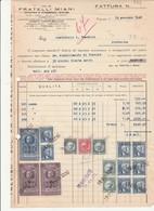 Fattura Con Marche Da Bollo Carta Intestata FRATELLI MIANI Legnami TREVISO 1940 - Documenti Storici