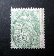 FRANCE 1900 N°111AD OBL. (BLANC. 5C VERT. TYPE IA. PIQUAGE À CHEVAL) - 1900-29 Blanc