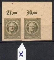 SBZ - Thüringen 1945  MiNr. 99 B  (2)  **/ Mnh ;  Goethe   Waagerechtes Paar Re.obere Ecke - Sowjetische Zone (SBZ)