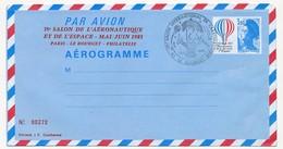 FRANCE => Aérogramme 3,10 Bicentenaire De L'Air Et De L'Espace. Repiquage ANNONAY Cachet Le Bourget 1983 - Ganzsachen