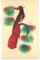 Carte Artisanale Confectionnée Et Peinte Entièrement A La Main - Oiseau Avec Plumes Réelles (112035) - A Systèmes
