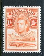 Basutoland 1938 KGVI Crocodile & Mountains - 1/- Red-orange HM (SG 25) - Basutoland (1933-1966)