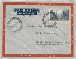 LETTRE 1937 POUR L'ARGENTINE AVEC TIMBRE A 10 FR PORT DE LA ROCHELLE - Postmark Collection (Covers)