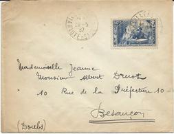 LETTRE 1937  AVEC TIMBRE A SURTAXE 50 CT + 10 CT CHOMEURS INTELLECTUELS - Poststempel (Briefe)