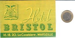 ETIQUETA DE HOTEL  -HOTEL BRISTOL  -MARSEILLE  -FRANCIA - Hotel Labels