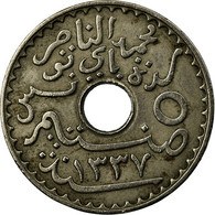 Monnaie, Tunisie, Muhammad Al-Nasir Bey, 5 Centimes, 1918, Paris, TTB+ - Tunisia