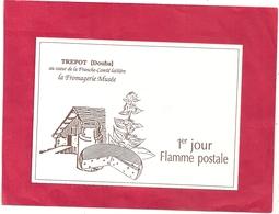 CPM . CARTE-PUB . TREPOT . AU COEUR DE LA FRANCHE-COMTE LAITIERE . LA FROAGERIE MUSEE . JOLI VERSO . 2 SCANES - France