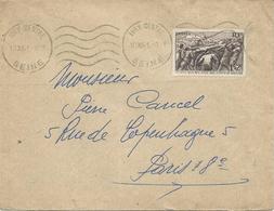 LETTRE 1941  AVEC TIMBRE  A SURTAXE 1 FR + 2 FR 20 ° SECOURS NATIONAL ENTRAIDE D'HIVER - 1921-1960: Modern Tijdperk