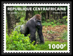 CENTRAL AFRICA 2019 MNH Gorilla 1v LOCAL - IMPERFORATED - DH1911 - Gorilles
