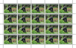 CENTRAL AFRICA 2019 MNH Gorilla M/S LOCAL - IMPERFORATED - DH1911 - Gorilles