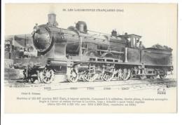 Les Locomotives Françaises (Etat) - Machine N° 221-107 à Vapeur Saturée - édit. F.F. Fleury 90 + Verso - Trains