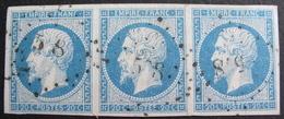 R1530/22 - NAPOLEON III (SUPERBE BANDE DE 3 TIMBRES) N°14A NUANCE BLEU CIEL - LPC - 1853-1860 Napoleon III