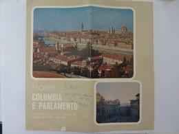 """Pieghevole  Illustrato """"HOTEL COLUMBIA E PARLAMENTO Firenze"""" Anni '60 - Tourism Brochures"""