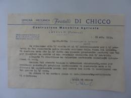 """Lettera Commerciale """"Officina Meccanica FRATELLI DI CHICCO Costruzioni Macchine Agricole LAVELLO ( Potenza )"""" 1963 - Italia"""