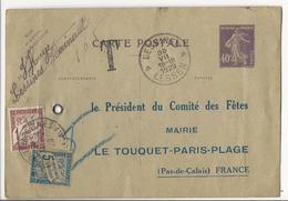 Carte Postale De Lessines (B) Au Comité Des Fêtes Du Touquet - 1929 - Taxée Par N°28 + N°40 - Taxes