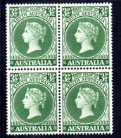 QUS152 - AUSTRALIA 1955 ,  Yvert, N.  224  In Splendida  Quartina ***  (2380A) . - 1952-65 Elizabeth II : Ed. Pré-décimales
