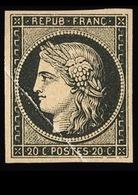 YT 3a * 20c Noir Sur Blanc Cérès, Très Beau Pli Accordéon, RR, TTB - 1849-1850 Cérès