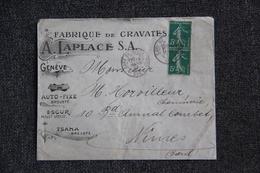 Timbre Sur Lettre Publicitaire - GENEVE, A.LAPLACE S.A ,Fabrique De Cravates. - Switzerland