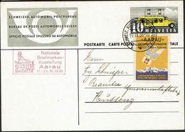 Schweiz Suisse 1938: PK AUTOMOBIL-POSTBUREAU 19.IX.38 Nationale Briefmarken-Ausstellung Aarau 17-25.IX.1938 Mit Vignette - Expositions Philatéliques
