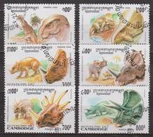 Faune Préhistorique - Dinosaures - CAMBODGE - Psittacosaurus, Protoceratops, Triceratops - N° 1236 à 1241 - 2000 - Cambodge