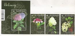 SI 2019-1361-4 FLOWERS, SLOVENIA, 1 X 3v + S/S, MNH - Slowenien