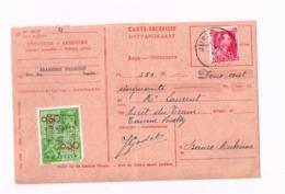 Carte-Récépissé.De Jupille à Malonne (pli).Timbre Fiscal. - Belgique
