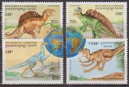 Faune Préhistorique - Dinosaures - CAMBODGE - Espinosaurio, Ouranosorus, Avimimus - N° 1354 à 1357 ** - 1996 - Cambodge