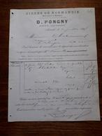 Ancienne Facture. Aumale. Cidres De Normandie. D.Pongny. 1888 - France