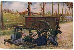 """Armée Belge  / """" Lanciers Défendant Une Route """" / Pub. """"Dubonnet """" Au Verso - Guerre 1914-18"""