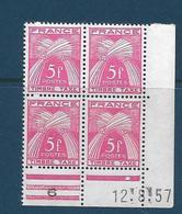 Coins Datés France Neuf**,  N°75 Yt, 1957, Taxe, Gerbes - 1950-1959