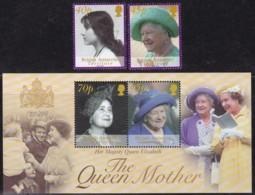 BAT 2002, 334/35+336/37 Block 10, Tod Von Königinmutter Elisabeth. MNH ** - Britisches Antarktis-Territorium  (BAT)