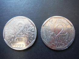 2x 2 Francs Jean Moulin 1993 - Louis Pasteur 1995 - France