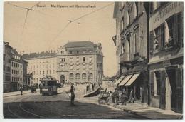 BASEL Marktgasse Mit Kantonalbank Café Restautant Stassenbahn Tram Animée - BS Bâle-Ville